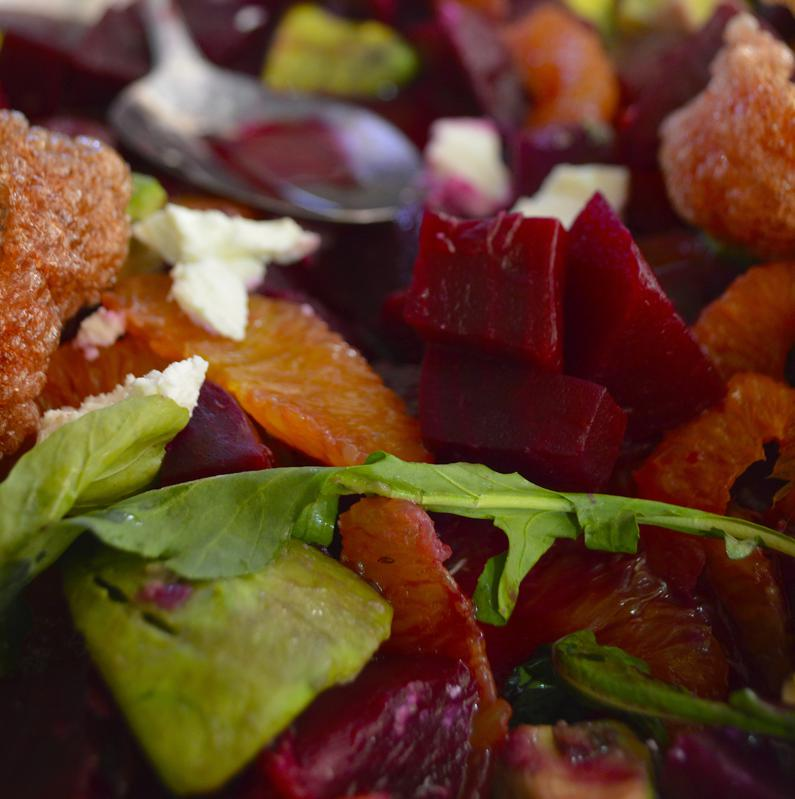 Salad of Beet, Avocado, Blood Orange and Arugula