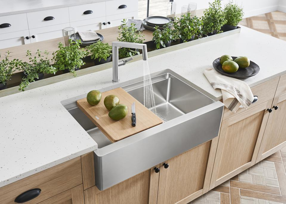Kitchen island with plants