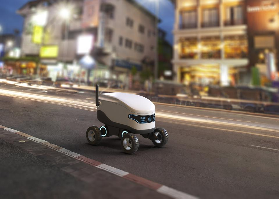 A self-driving food delivery robot might appear in a post-pandemic world in which consumers want to avoid human contact.