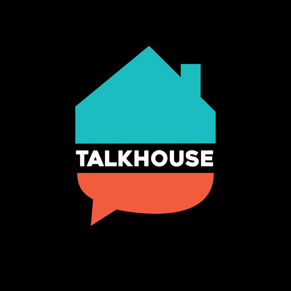The Talkhouse Podcast Logo is a house on top of a question mark