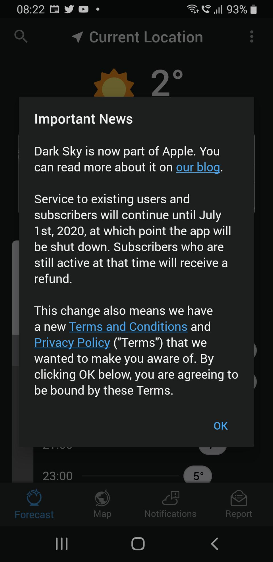 Dark Sky app on Android