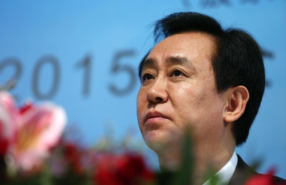 Hui Ka Yan attends Evergrande's results announcement.