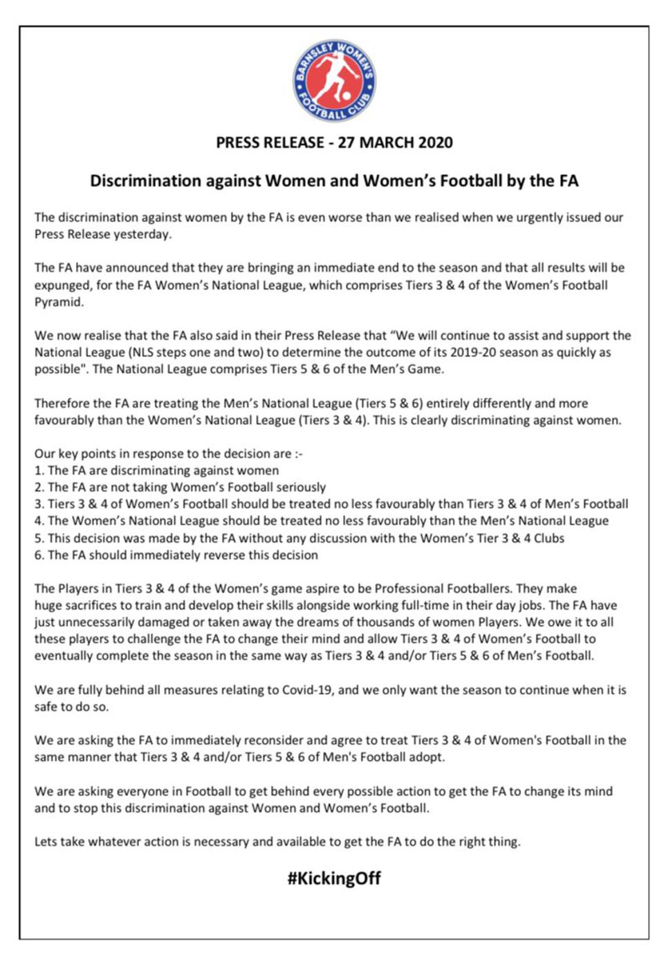Press Release issued by Barnsley Women's FC on March 30 accusing The FA of discrimination
