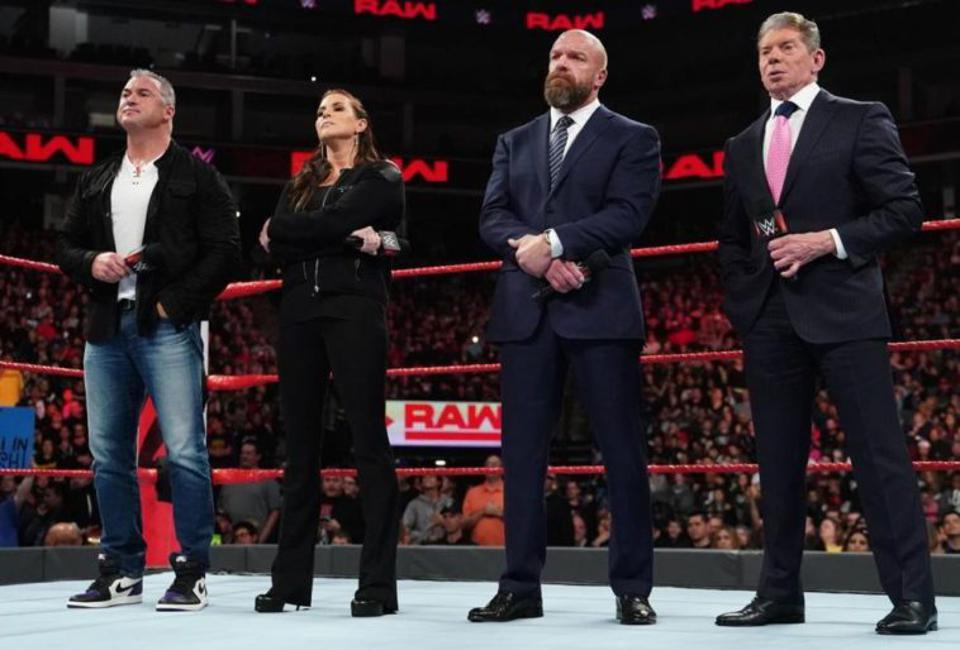 WWE Raw: Triple H, Vince McMahon, Stephanie McMahon and Shane McMahon address the roster