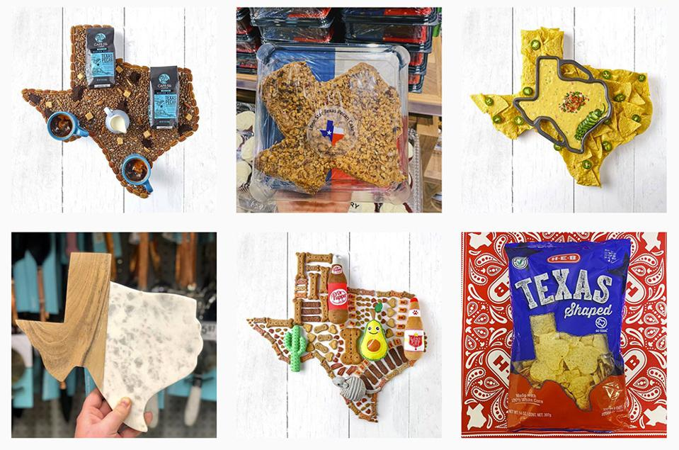 6 images from H-E-B Instagram, all with Texas shapes