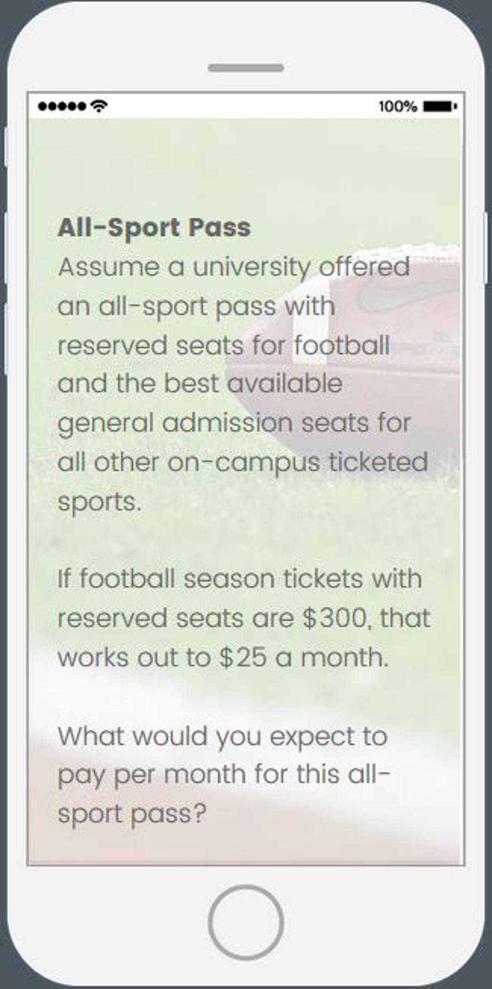 Fans' willingness to pay for an all-sports subscription pass for NCAA schools.