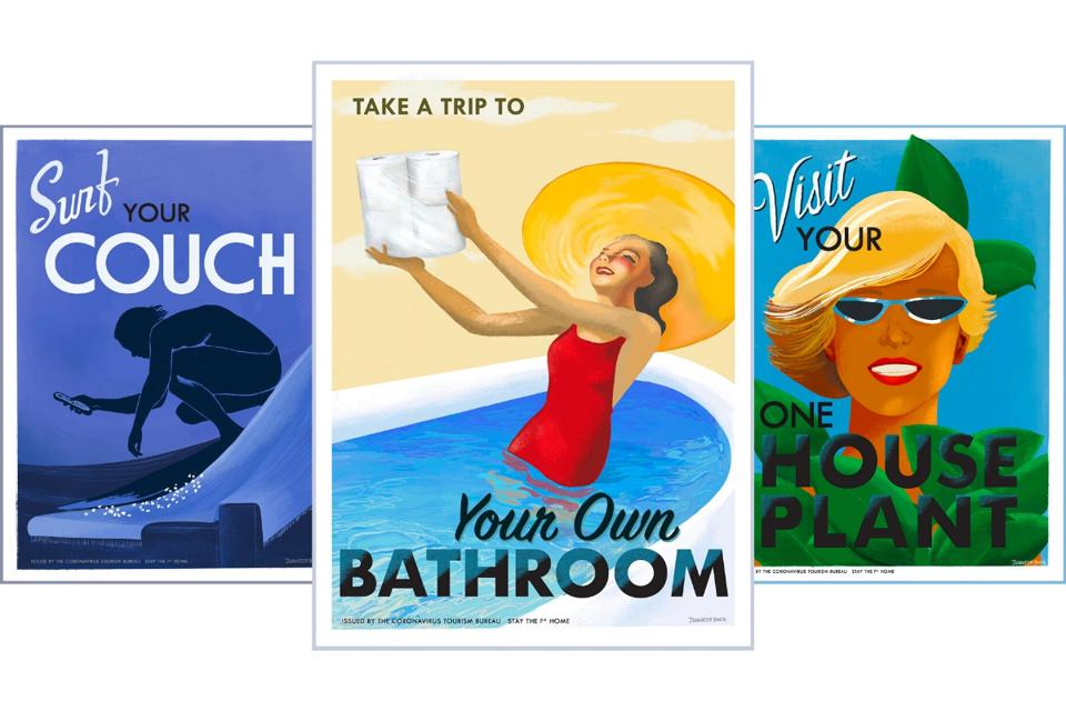 Stay at home travel posters