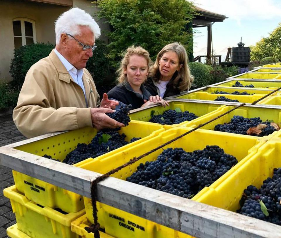 Véronique Drouhin with her father Robert and her daughter Laurene at their Oregon winery