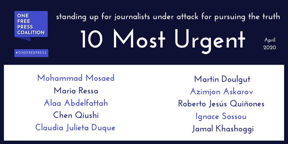 One Free Press April ″10 Most Urgent″ List