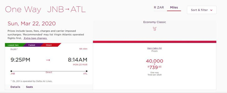 Virgin Atlantic charged only 40,000 miles for the same flights.