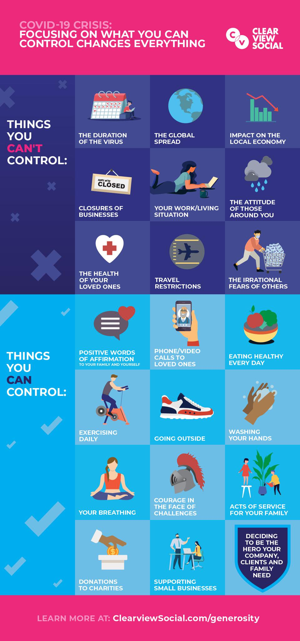 COVID-19: graphic explaining all the things you can and can't control right now.