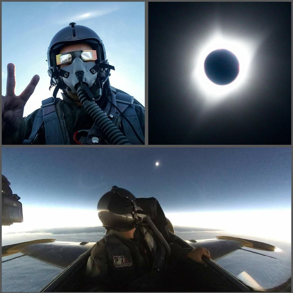 Flying into the 2017 American total solar eclipse off the coast of Oregon in an L-39 jet. Bottom image shows the 60 mile wide shadow of the moon, sunset 360 degrees, as I gaze back at the fully eclipsed sun.