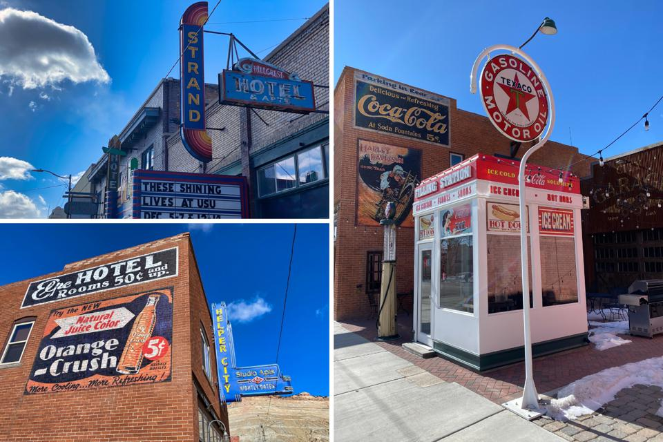 Historic signs and buildings in Helper, Utah.