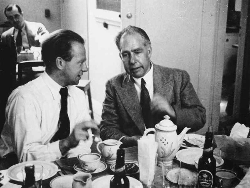 Werner Heisenberg (left) with Niels Bohr at a Conference in Copenhagen in 1934.