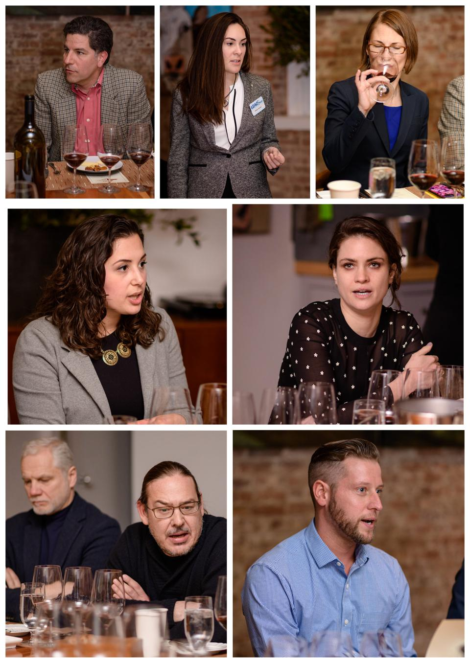Faces of the nine wineries tasted at the 2020 Long Island Library Reds Lunch in Manhattan