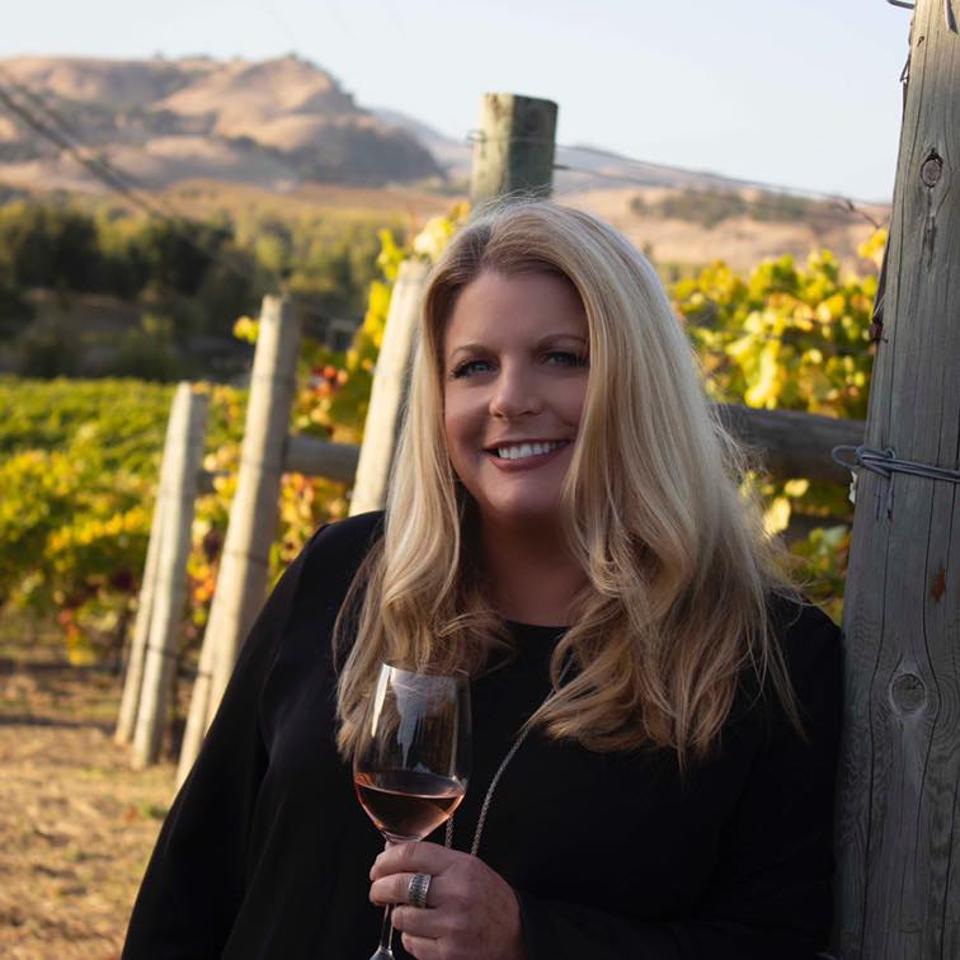 Tracey Mason in the vineyard.