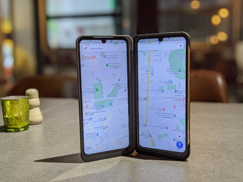 The LG V60 Dual Screen running Google Maps across both screens.