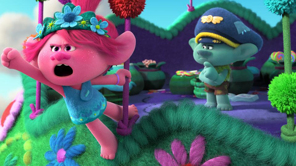 (from left) Poppy (Anna Kendrick) and Branch (Justin Timberlake) in DreamWorks Animation's ″Trolls World Tour,″ directed by Walt Dohrn.