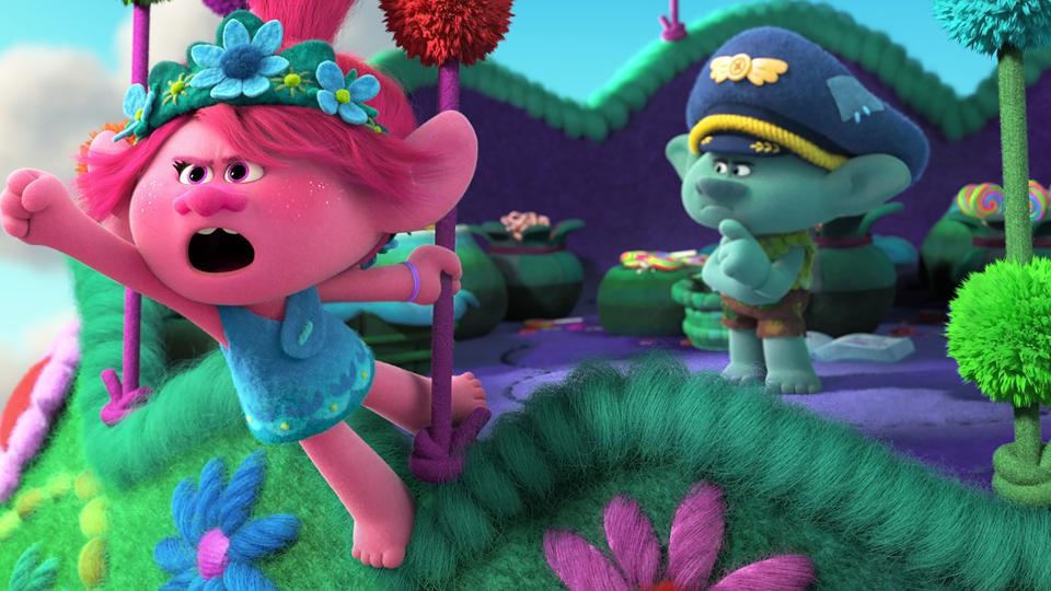 Poppy (Anna Kendrick) and Branch (Justin Timberlake) in DreamWorks Animation's 'Trolls World Tour'