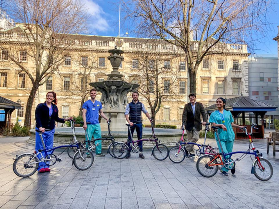 NHS staff on Brompton folding bikes