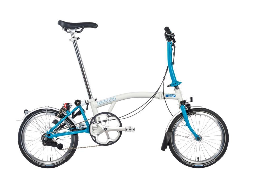 Brompton bike in NHS colors.
