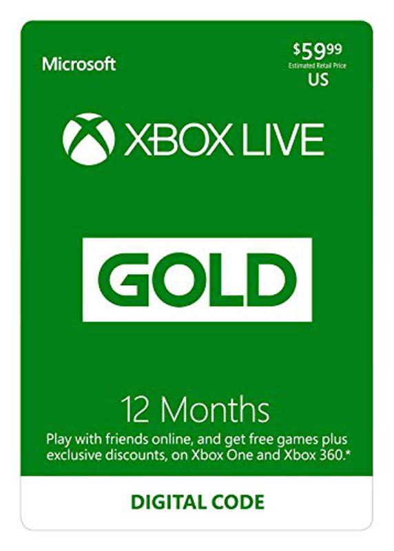 An Xbox Live Gold subscription card.