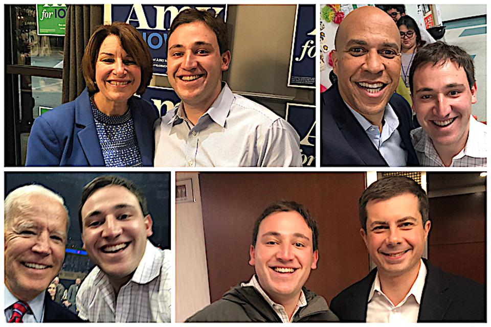 Undaunted by the pandemic or the recession, Stanford MBA Ben Leff is launching a polling startup. Here he is with several Democratic candidates during the primary campaign