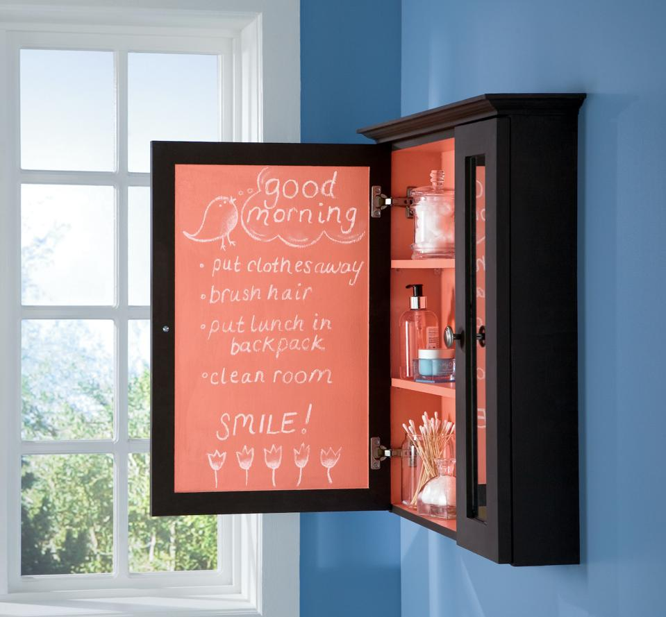 A fun location for the chalk board paint is on the iof a medicine cabinet.