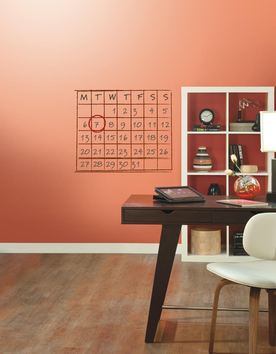An office calendar is created with Sherwin Williams Sketch Pad paint.