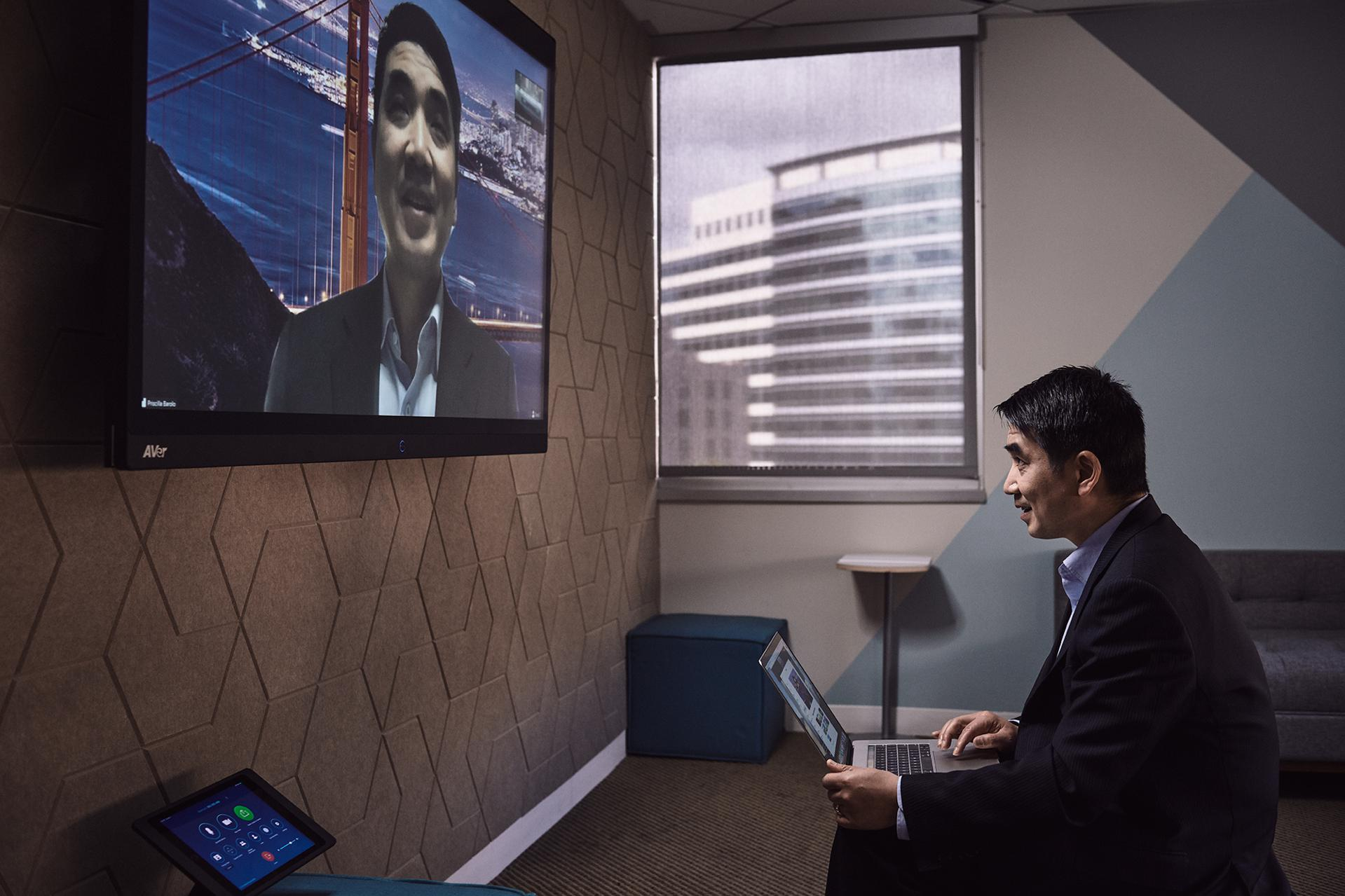 Zoom CEO Eric Yuan is seen here using his own videoconferencing tools in 2019.