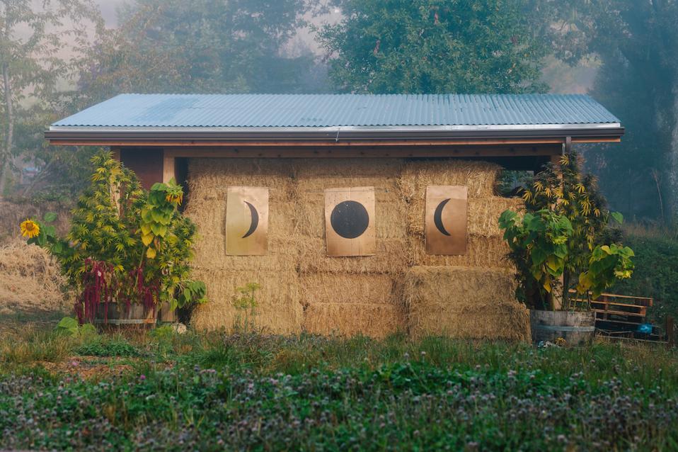 at moon made farms hay bales drying