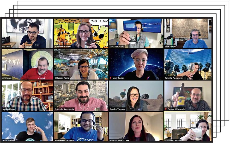 Zoom's Latin America team enjoys a virtual happy hour.