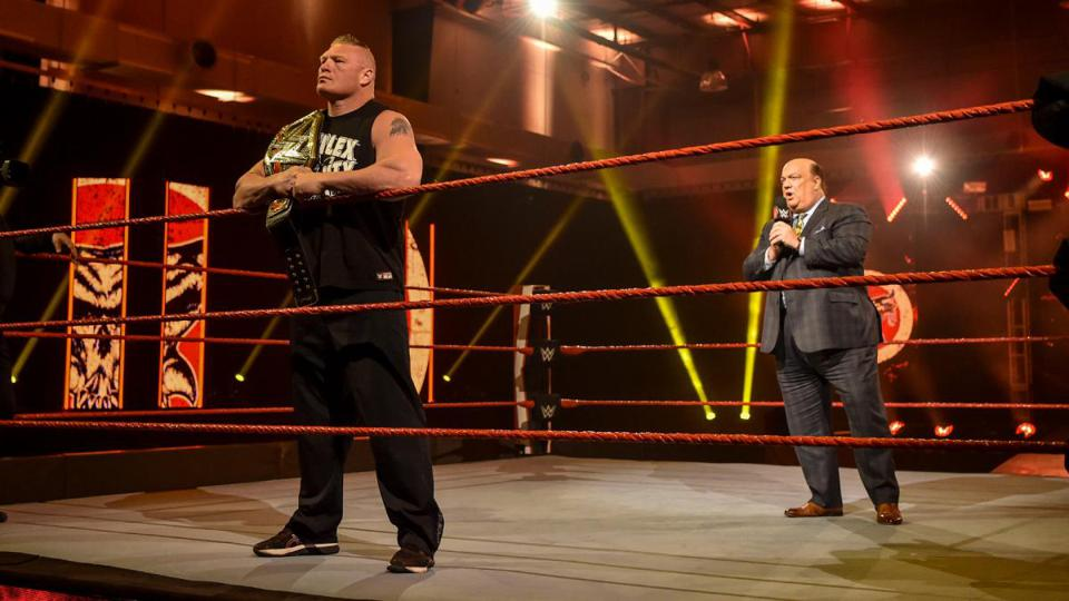Brock Lesnar & his ″advocate″ Paul Heyman hype WrestleMania at the WWE Performance Center.