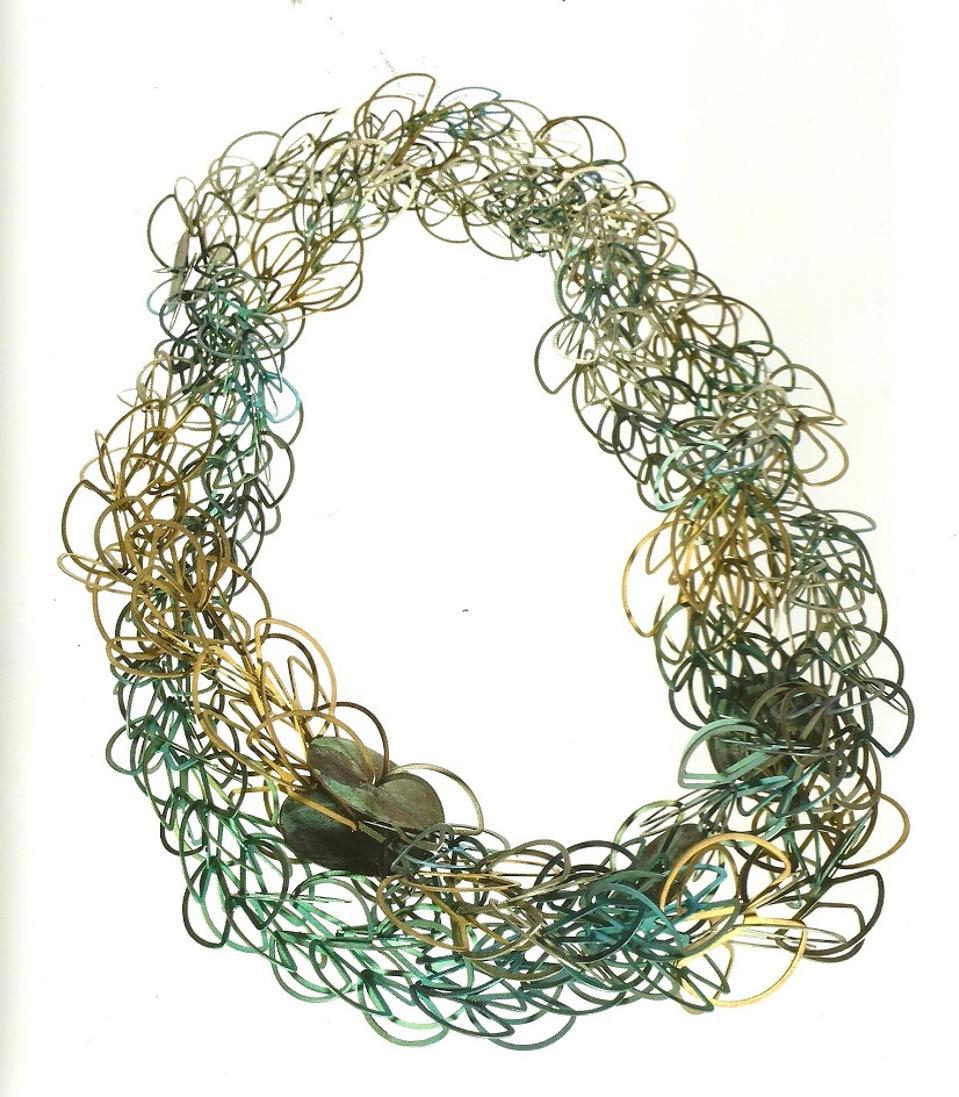 ″Titanio Alphabet″ necklace by Carla Riccoboni, 2014, made of titanium of various colors