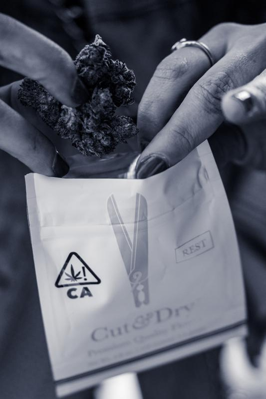 Ian Shiver photo in black and white of a woman examining a cannabis flower from cut & dry