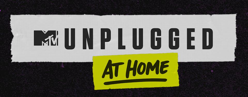 Promotional logo for 'MTV Unplugged at home'