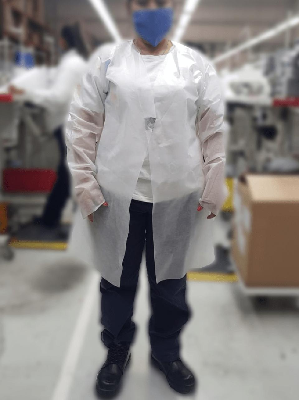 Faurecia protective gown and mask.