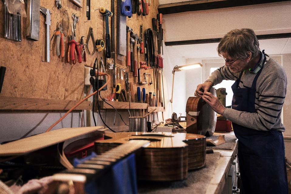 Denny Zager's custom guitar shop.