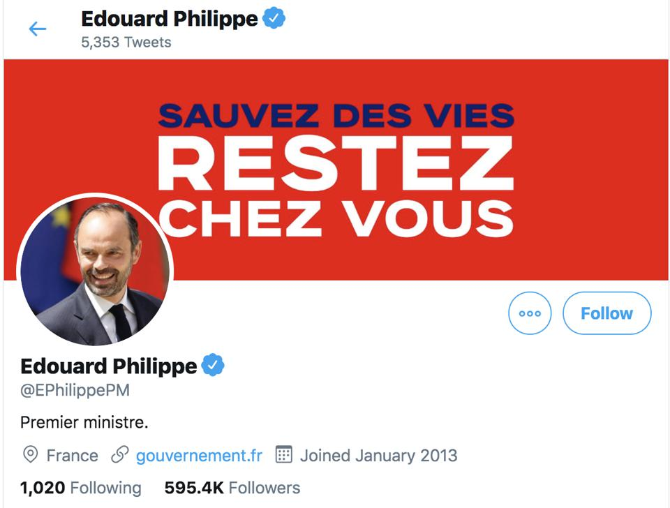 Edouard Philippe French Prime Minister twitter stay at home coronavirus lockdown