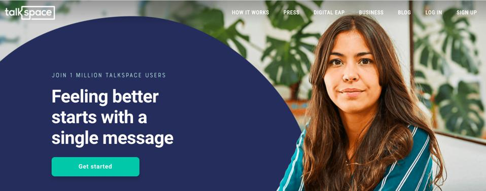 A screenshot of the Talkspace website with a woman looking at the camera and the message 'Feeling better starts with a single message'
