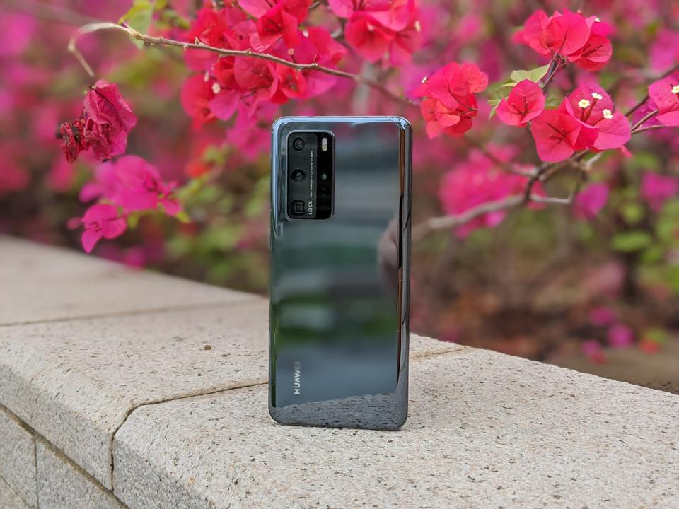 Huawei P40 Pro's glass back finish with a quad-camera module.