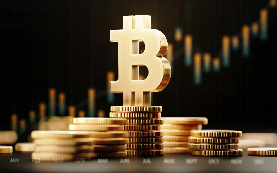 Bitcoin Symbol With Financial Chart Over Dark Background