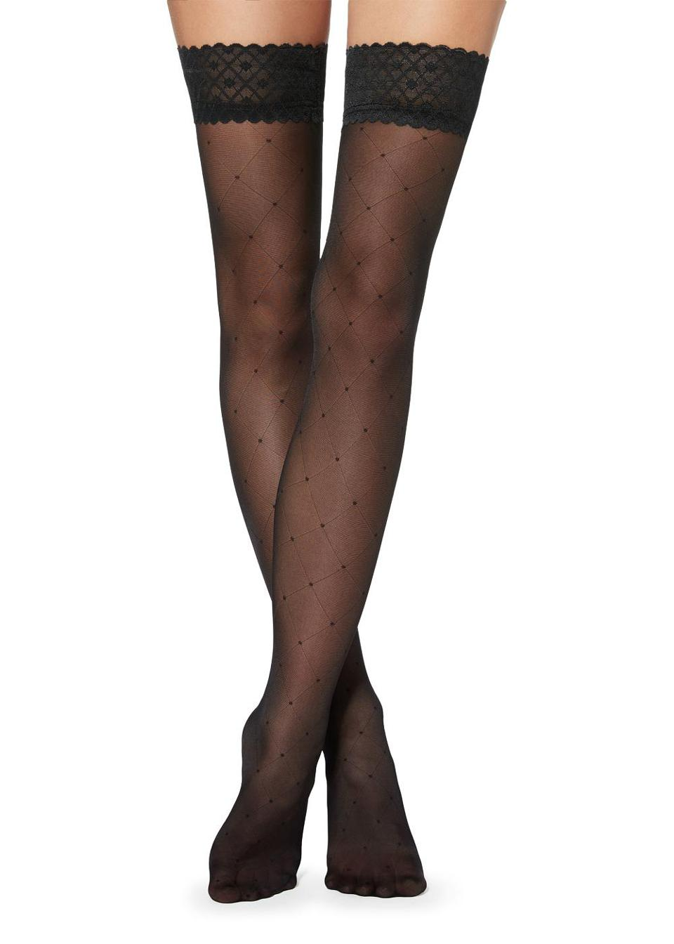 Diamond and polka dot patterned hold-ups with tulle top by Calzedonia