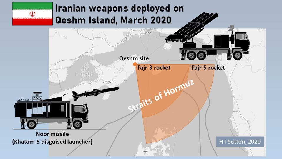 Iranian Noor anti-ship missile and Fajr MLRS deployed on Qeshm Island, March 2020