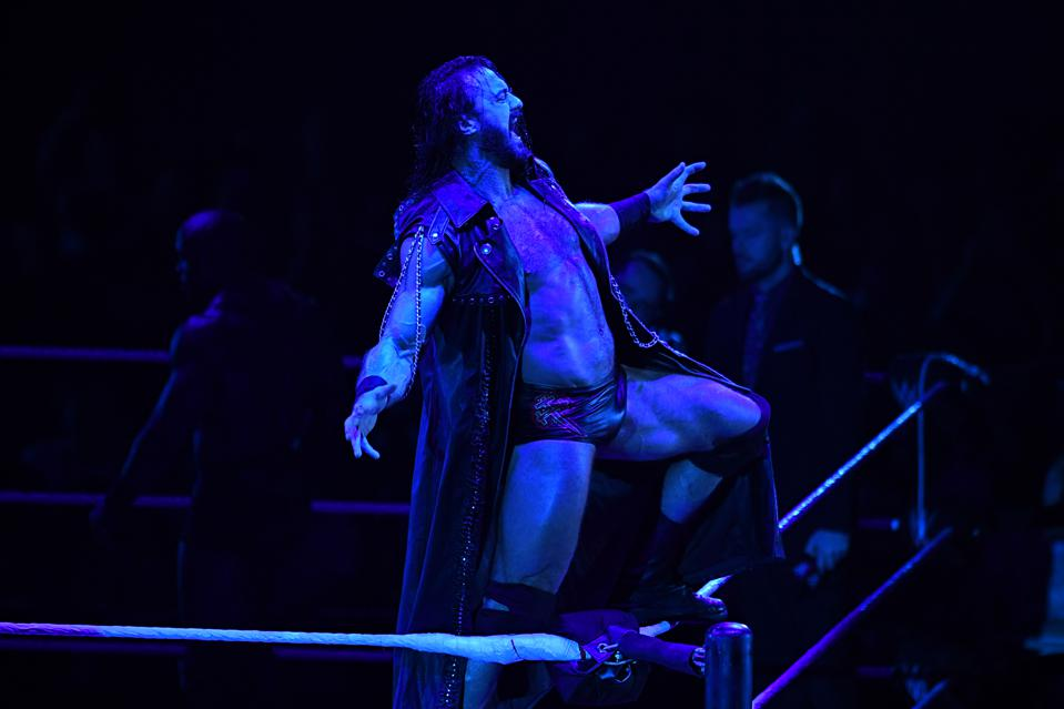 WWE star Drew McIntyre poses on the turnbuckle