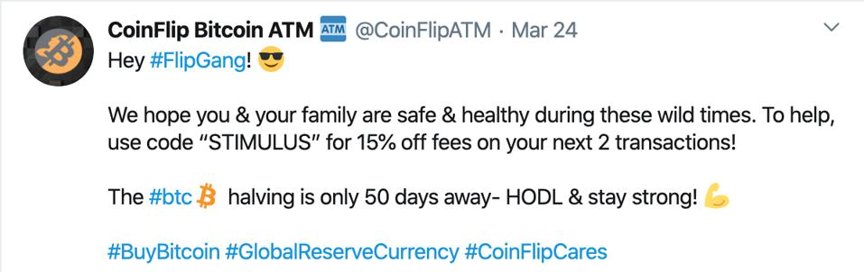Twitter of STIMULUS discount for Bitcoin consumers