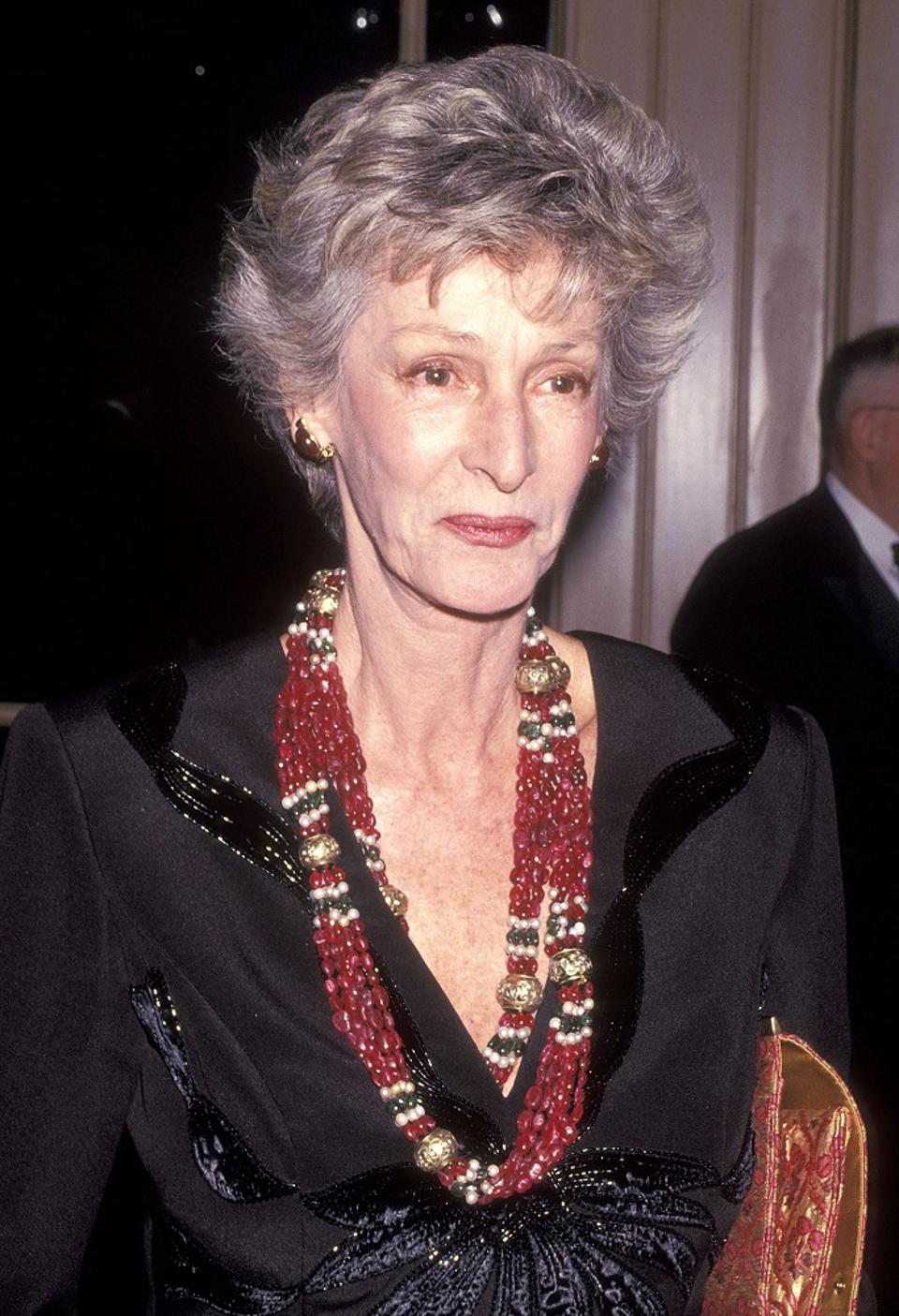 Marella Agnelli in 1991 wearing her iconic bead necklace created by The Gem Palace