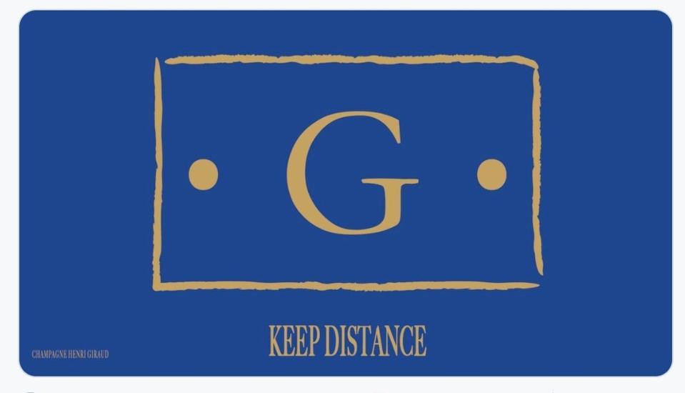 Maison Henri Giraud logo modified to reflect social distancing