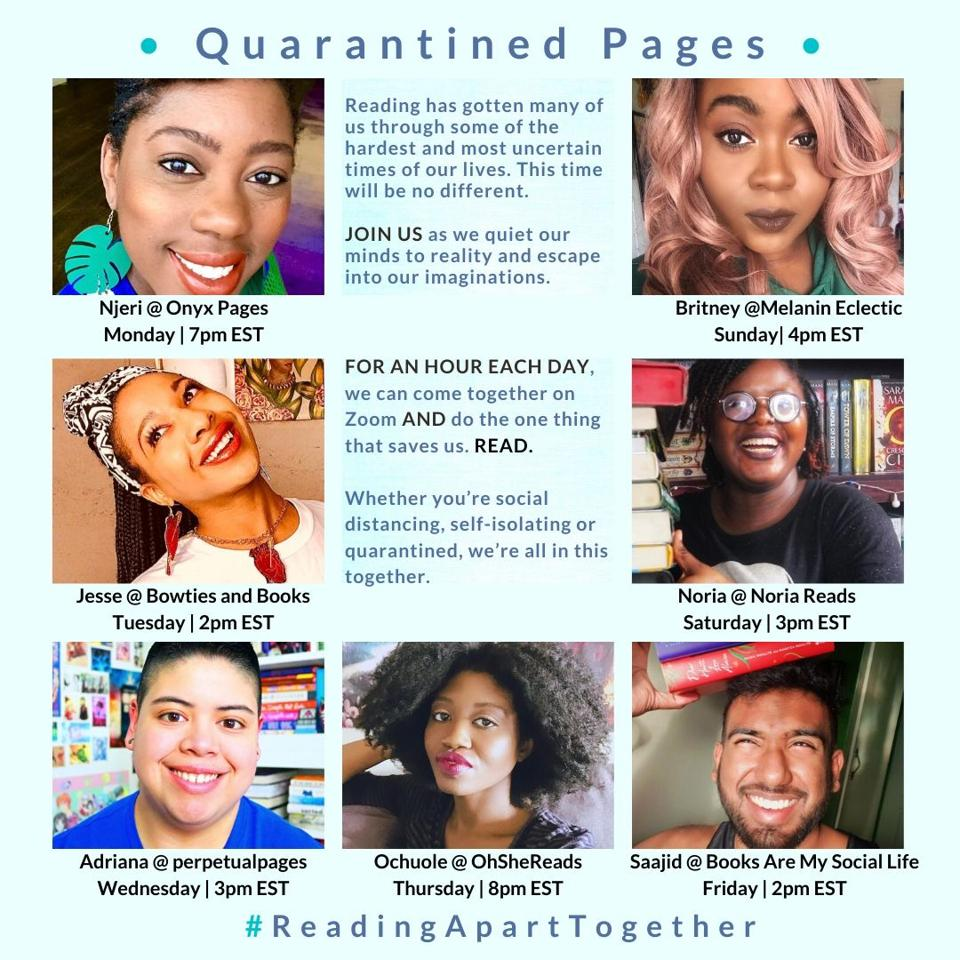 quarantined pages zoom silent group reading booktube booktuber books reading covid-19 pandemic