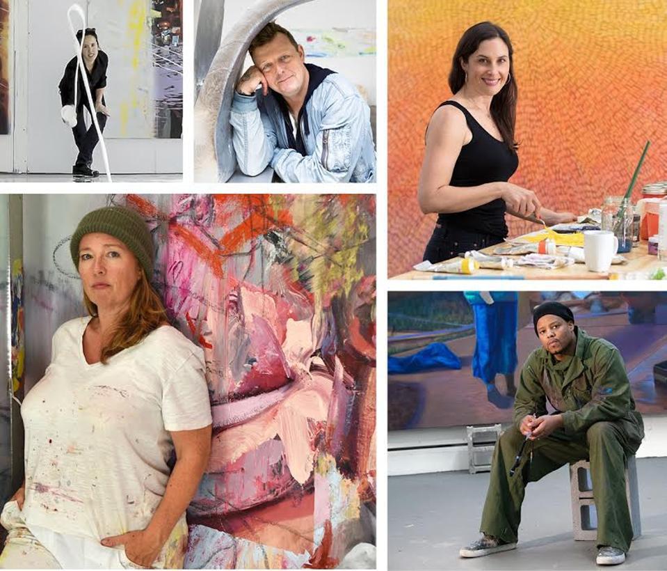 Clockwise from top left: Sarah Sze, photo: courtesy the artist; Urs Fischer, photo: Chad Moore; Jennifer Guidi, photo: Brica Wilcox; Titus Kaphar, photo: John Lucas; and Jenny Saville, photo: courtesy the artist.